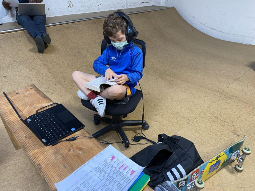 Kid Studying at Rob Skate School Program
